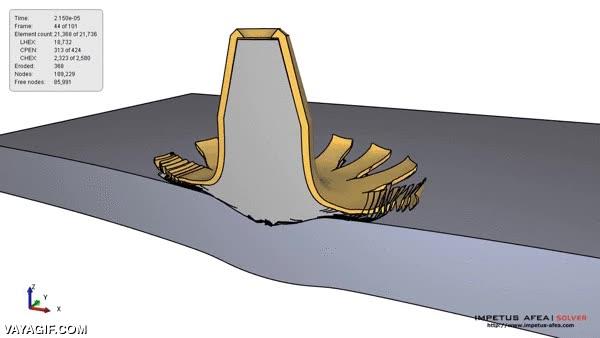 Enlace a Vista seccionada del impacto de una bala contra una placa de aluminio