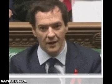 Enlace a George Osborne, miembro del parlamento británico, después de haber tomado vete a saber qué