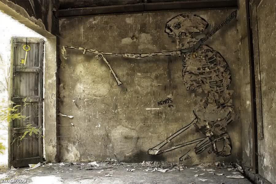 Enlace a Un graffiti animado que trata sobre la frustración y los sueños inalcanzables en la vida
