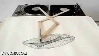 Enlace a Este es el dibujo que generan dos platos de DJ girando simultáneamente