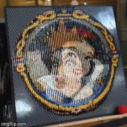 Enlace a Este cuadro de Blancanieves que cambia según el punto de vista está hecho con Lego