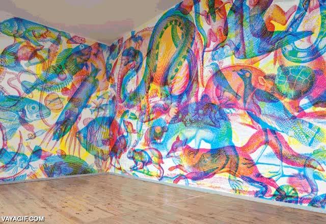 Enlace a Un mural de pared que cambia según la luz que se encienda