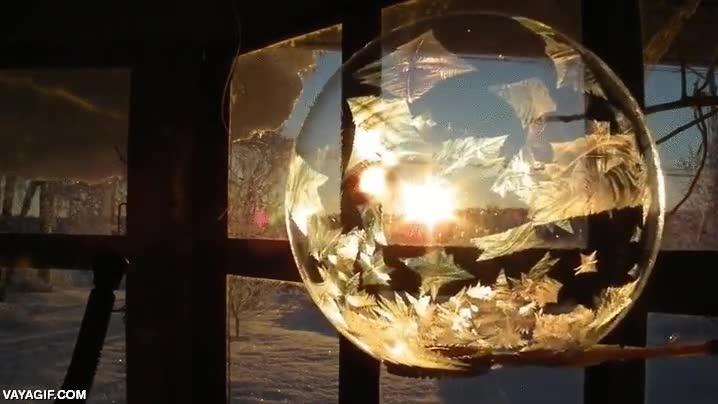 Enlace a Burbujas congelándose a través de la luz del amanecer