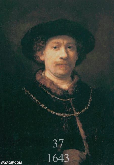 Enlace a Todos los auto-retratos de Rembrandt, de los 22 hasta los 63 antes de morir