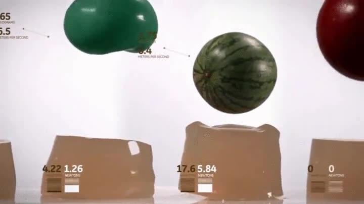 Enlace a Objetos esféricos de diferentes pesos cayendo sobre bloques de gelatina a cámara lenta, ¡hipnótico!