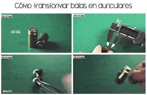 Enlace a Ojalá algún día se pueda hacer esto con todas las balas del mundo, convertirlas en auriculares