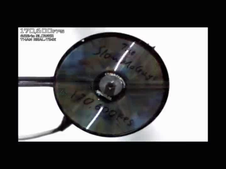 Enlace a Esto es lo que pasa a cámara lenta cuando un CD gira demasiado rápido