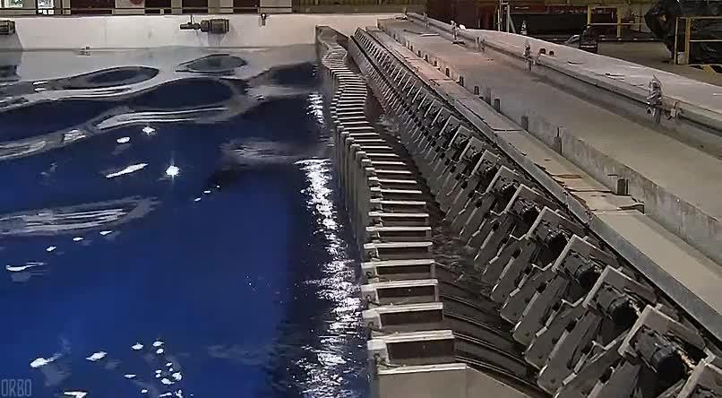 Enlace a Sistema de generación de olas en la universidad de Plymouth