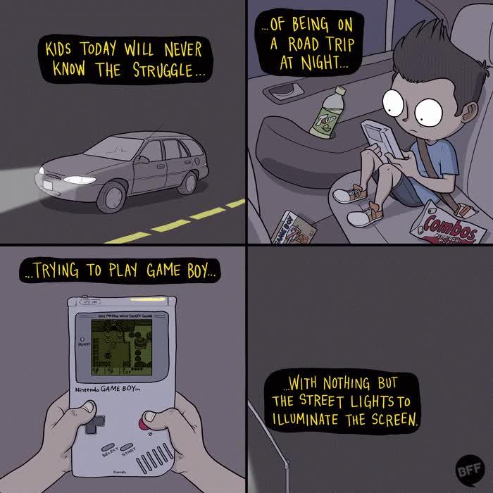 Enlace a Los niños de hoy nunca sabrán lo duro que era jugar a la Game Boy en el coche con poca luz