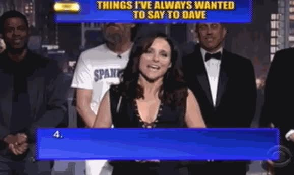 Enlace a Julia Louis-Dreyfus en el último programa de David Letterman soltando una puyita de las buenas