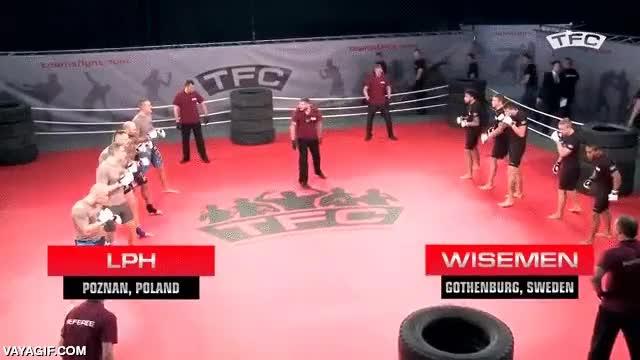 Enlace a Team Fighting Championship, lo que sería una pelea de bar pero con árbitros