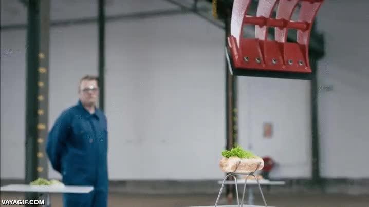 Enlace a Haciendo un hotdog con maquinaria pesada