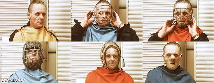 Enlace a Anthony Hopkins probando diferentes máscaras para Hannibal Lecter en ''El silencio de los corderos''