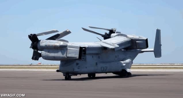 Enlace a Este es el V-22 Osprey, un modelo de helicóptero medio transformer