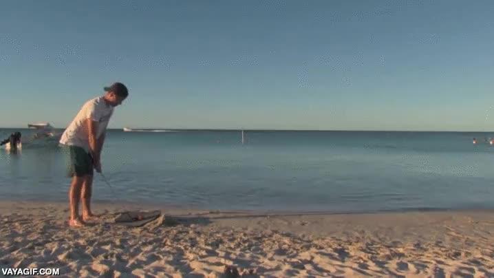 Enlace a ¡Con todos ustedes, el golf subacuático! La gente ya no sabe qué inventar...