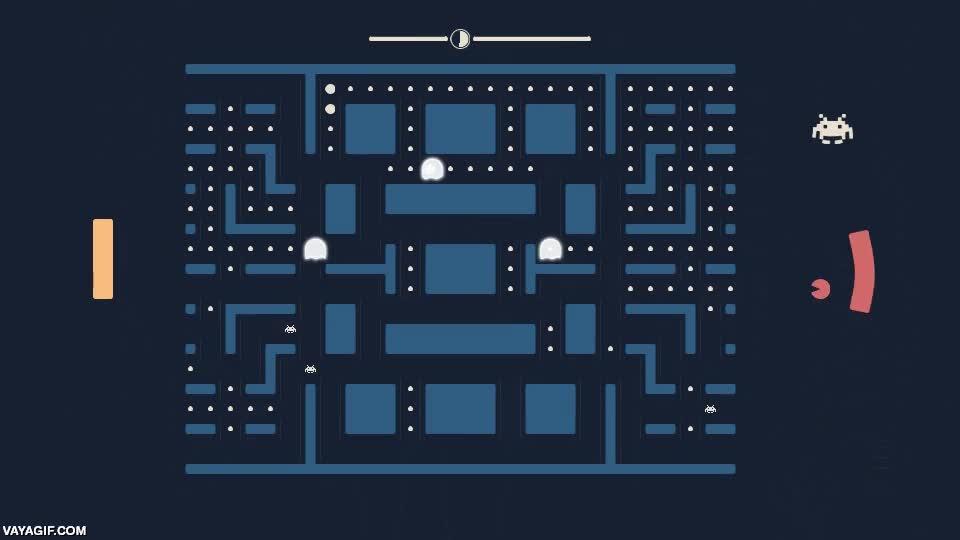 Enlace a Pacapong. Es básicamente una mezcla de Pacman, Pong y Space Invaders
