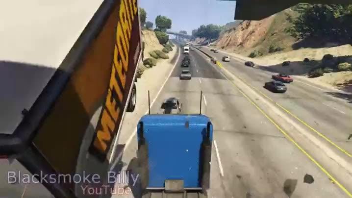 Enlace a El mejor mod para camiones de GTA V, ponle una rampa en el morro y todo lo que se cruce, ¡a volar!