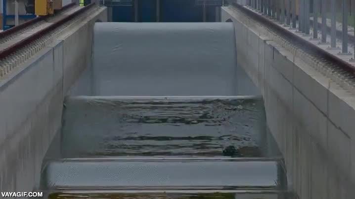 Enlace a Así son las olas que se provocan en los diques al abrir las compuertas