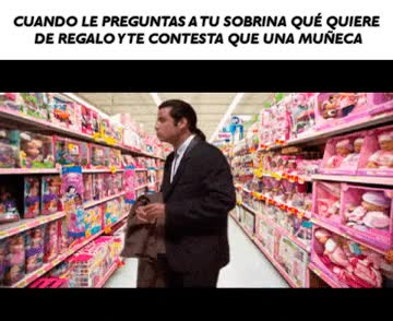 Enlace a Más perdido que un padre en la sección de muñecas de la tienda de juguetes