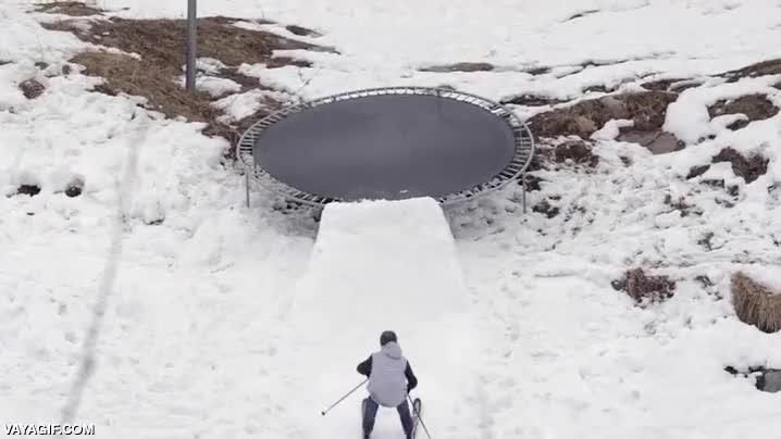 Enlace a ¿Por qué no mezclar el esquí freestyle con camas elásticas?