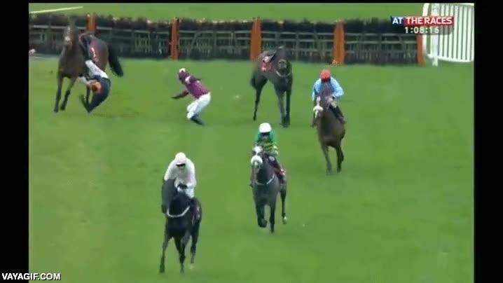 Enlace a En plena carrera de caballos, dos se van al suelo y un jinete queda enganchado, ojo al compañerismo