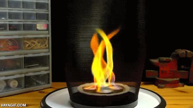 Enlace a Ácido bórico en llamas y en rotación, precioso baile de fuego