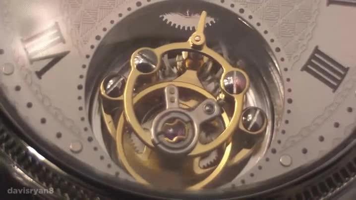 Enlace a Este es el movimiento del Tourbillon, una pieza importante de algunos relojes