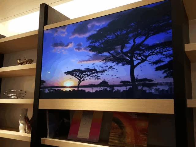 Enlace a Televisión transparente como elemento decorativo
