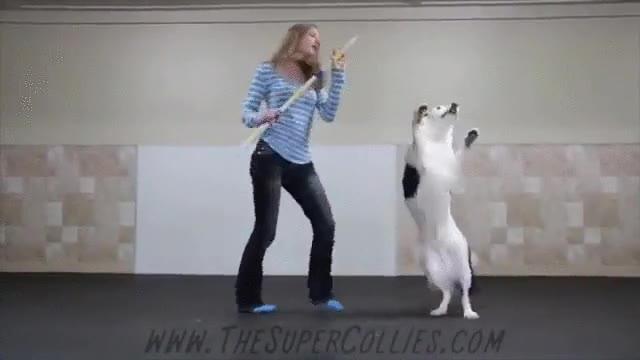 Enlace a Esta chica tan afortunada no va encontrar una mejor pareja de baile