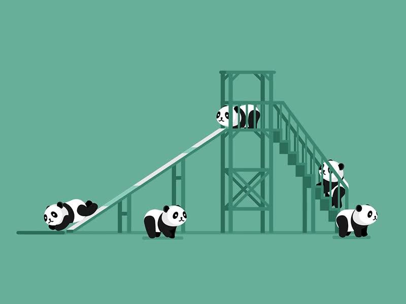 Enlace a Podría pasarme el día entero viendo a estos pequeños pandas tirarse por el tobogán