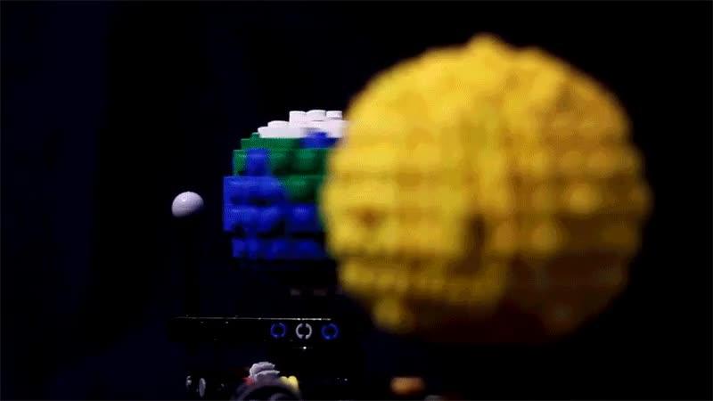 Enlace a La Tierra, el Sol y la Luna representados con piezas de LEGO
