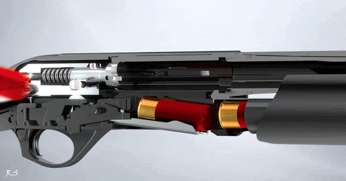 Enlace a Funcionamiento del mecanismo de disparo de una escopeta