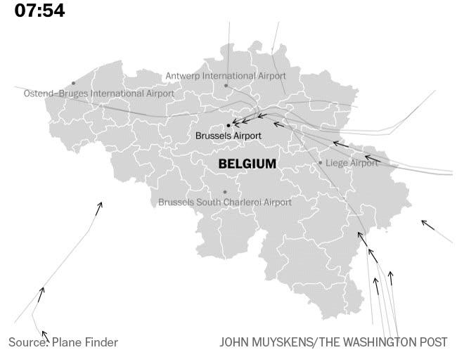Enlace a Así fueron desviados todos los vuelos a Bélgica en la trágica mañana del atentado