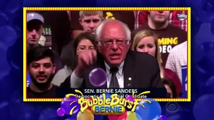 Enlace a Bernie Sandes explotando burbujas