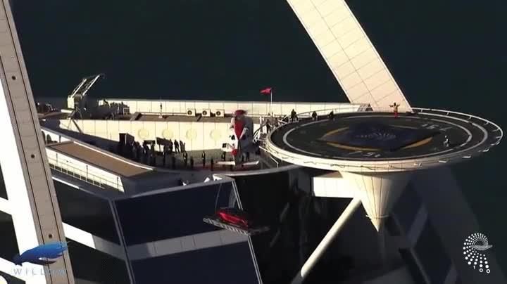 Enlace a Un helicóptero entregando un Aston Martin en Dubai