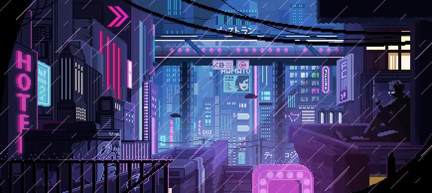 Enlace a Pixel Art de una ciudad futurista