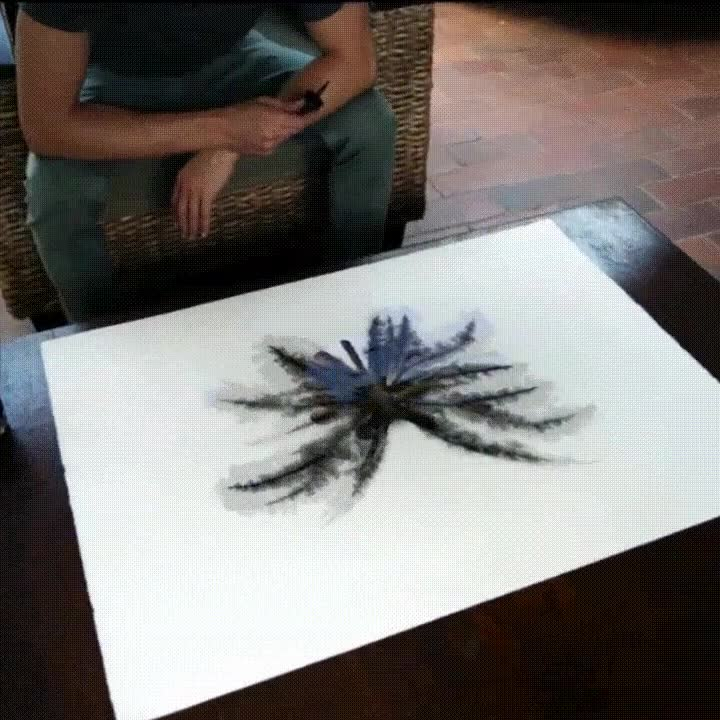 Enlace a El increíble efecto de los dibujos con tinta. Parece cosa de magia