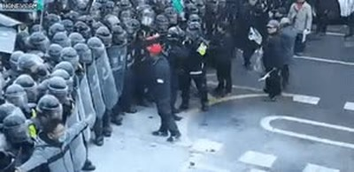 Enlace a NUNCA te metas con un antidisturbios si no quieres que pase algo así