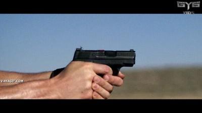 Enlace a Mosca aterrizando en una pistola a punto de ser disparada