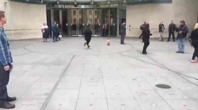 Enlace a Perro en patinete intentándose colar en el edificio de la BBC