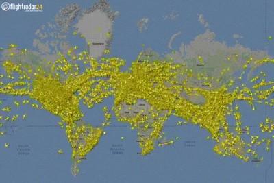 Enlace a Imagen global del tráfico aéreo. Una auténtica locura