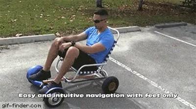 Enlace a Hoverboard atado a una sillita de playa