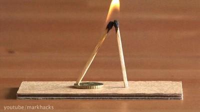 Enlace a Un sencillo truco que se puede hacer con dos cerillas y una moneda
