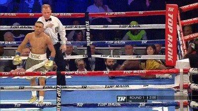 Enlace a Teofimo Lopez Jr. celebrando un KO con el baile de Fortnite