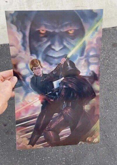 Enlace a 3 escenas míticas de batalla en un póster de Star Wars