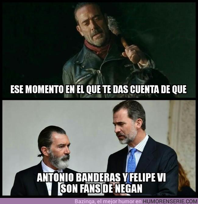 16805 - Antonio Banderas y Felipe VI, fans de Negan