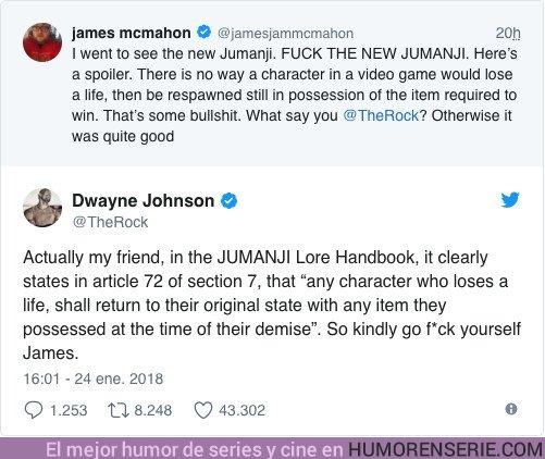 22143 - Jumanji: Un tuitero intenta trollear a Dwayne Johnson y se lleva el zasca de su vida