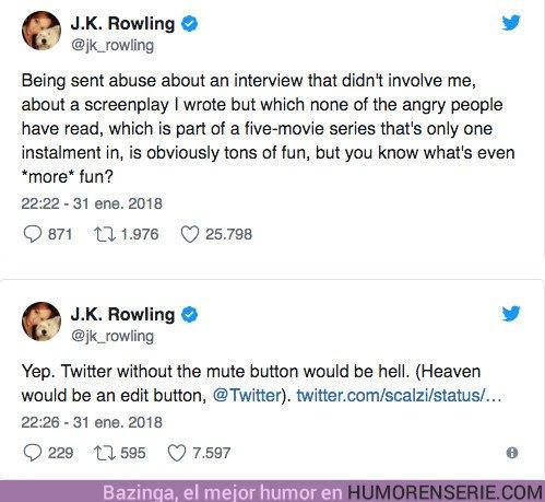 22330 - J.K. Rowling responde cansada a los que quieren ver Dumbledore abiertamente gay