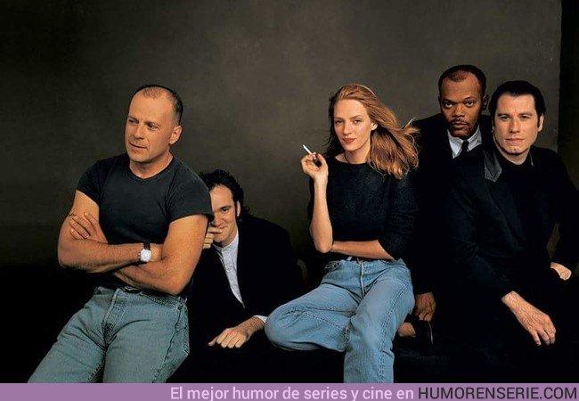 23484 - Bruce Willis, Quentin Tarantino, Uma Thurman, Samuel L.Jackson John Travolta en una foto histórica de 1994.