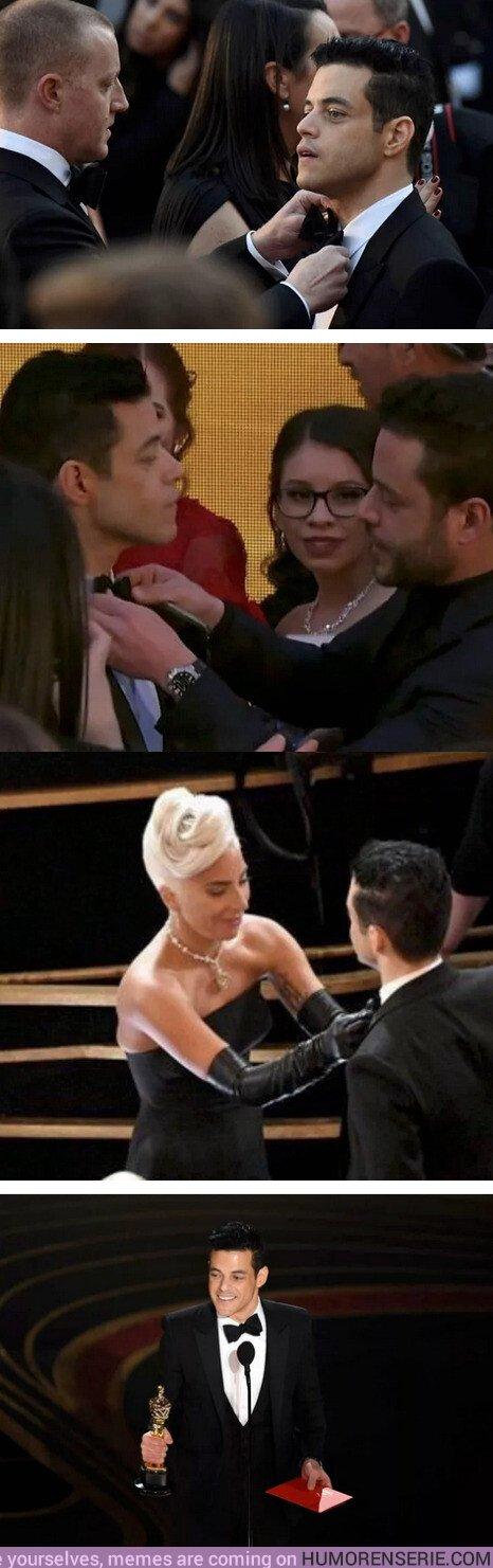 35357 - Lo mejor de Los Oscar fue la lucha de varios actores contra la pajarita de Rami Malek